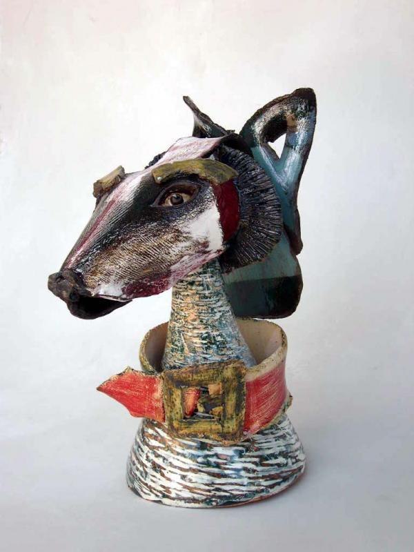 J Loup,   buste de chien chercheur